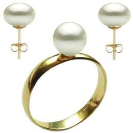 Set Aur Cercei cu Surub si Inel cu Perle Naturale Albe, marimea 16,5 mm