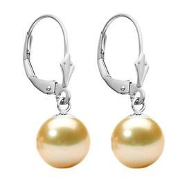 Cercei Aur Alb Model Lalea cu Perle Naturale Crem Premium de 8 mm