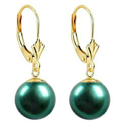 Cercei Aur Galben Model Lalea cu Perle Naturale Verde Smarald Premium de 8 mm