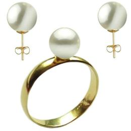 Set Aur Cercei cu Surub si Inel cu Perle Naturale Premium Albe, marimea 19,8 mm