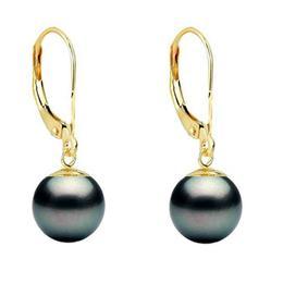 Cercei Aur si Perle Naturale Negre 8 mm