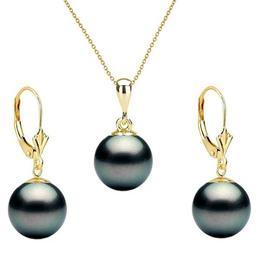 Set Aur Galben cu Perle Naturale Premium Negre de 10 mm