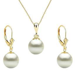 Set Aur Galben cu Perle Naturale Premium Albe de 8 mm