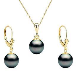 Set Aur Galben cu Perle Naturale Premium Negre de 8 mm