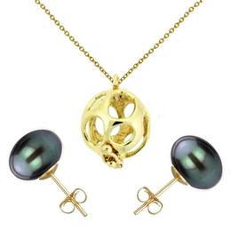 Set Perla Surpriza din Aur cu Cercei Aur cu Perle Naturale Negre