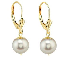 Cercei Aur Galben Model Lalea cu Perle Naturale Akoya Albe