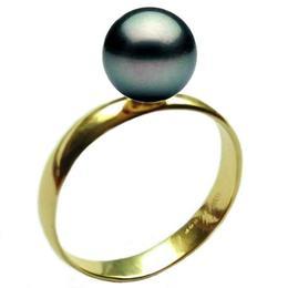Inel din Aur cu Perla Naturala Neagra Premium de 10 mm, 14 karate, marimea 17,3 mm