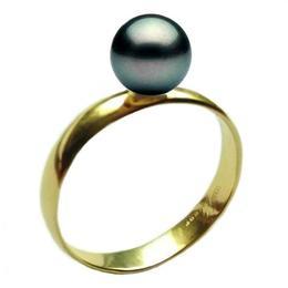 Inel din Aur cu Perla Naturala Neagra Premium de 8 mm, 14 karate, marimea 20,6 mm
