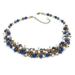 Set colier la baza gatului si cercei, cu perle Mallorca si Swarovski, Fantezie, Zia Fashion