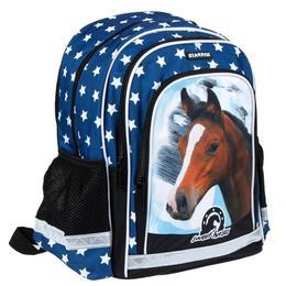 Ghiozdan albastru, Sweet Horses, pentru scoala, 39x29x19,5 cm