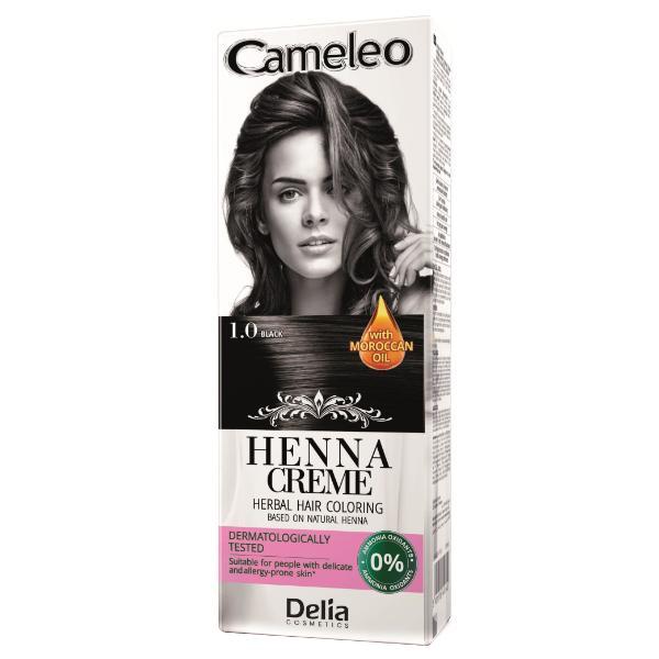 Crema Coloranta pentru Par pe Baza de Henna Cameleo Delia Cosmetics, nuanta 1.0 Black, 75g imagine produs