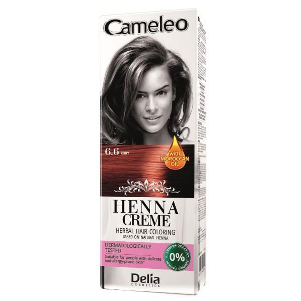 Crema Coloranta pentru Par pe Baza de Henna Cameleo Delia Cosmetics, nuanta 6.6 Ruby, 75g imagine produs