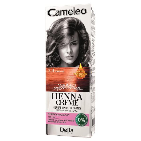Crema Coloranta pentru Par pe Baza de Henna Cameleo Delia Cosmetics, nuanta 7.4 Copper Red, 75g imagine produs