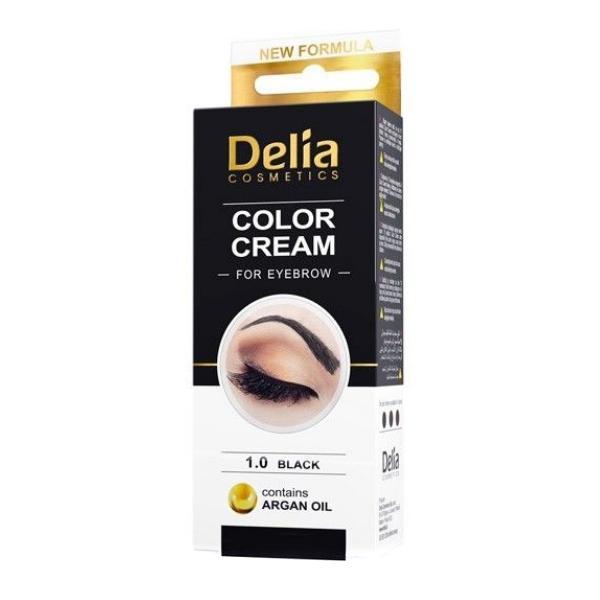 Vopsea pentru Sprancene cu Ulei de Argan Delia Cosmetics, nuanta 1.0 Negru, 15ml imagine produs