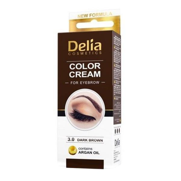 Vopsea pentru Sprancene cu Ulei de Argan Delia Cosmetics, nuanta 3.0 Maro Inchis, 15ml imagine produs