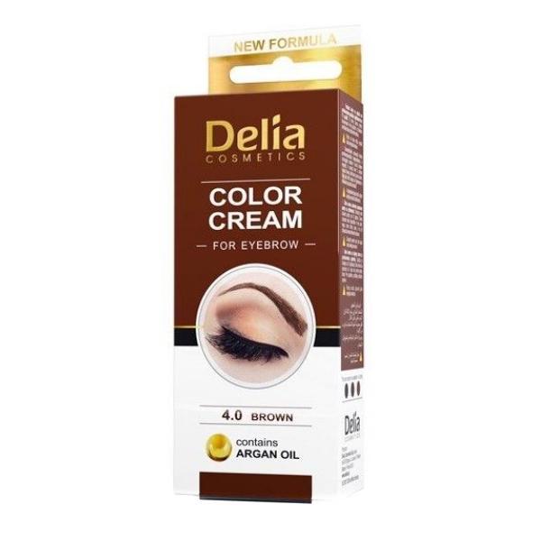 Vopsea pentru Sprancene cu Ulei de Argan Delia Cosmetics, nuanta 4.0 Maro, 15ml imagine produs