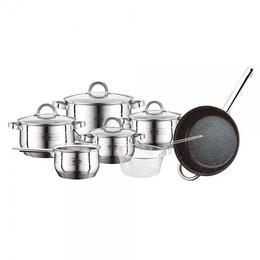 Set 5 cratite si tigaie inox, capac sticla, cos metalic, Peterhof PH-15843, 2.1 l, 3 l, 4 l, 6.5 l, 3.3 l