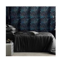 Lenjerie de pat dublu Valeron, Crocodile negru, bumbac egiptean, 6 piese