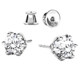 Cercei Argint 925 non tarnish, Cercei Swarovski Zirconia Crystal Clear, GlassIdeas, Cercei Brilliance Bijuterii Argint, Cercei Birthstone, Set 2 cercei