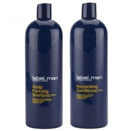 Pachet Barbatesc pentru Par Gras Label.men - Sampon si Balsam 1000 ml