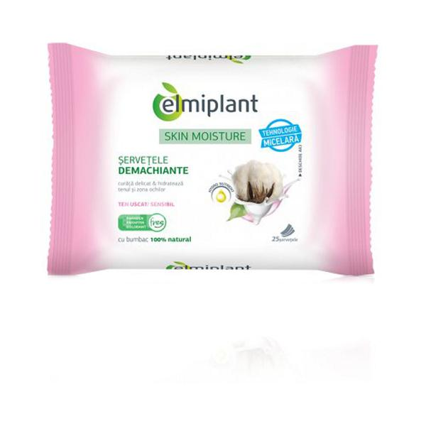 Skin Moisture Servetele Demachiante Ten Uscat si Sensibil Elmiplant, 25buc imagine produs