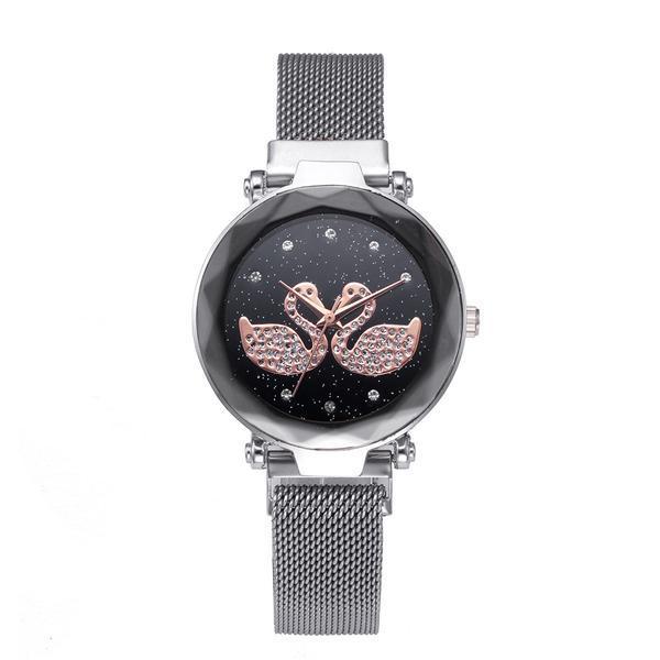 Ceas dama GENEVA CS1043, model Starry Sky, bratara magnetica, elegant, argintiu