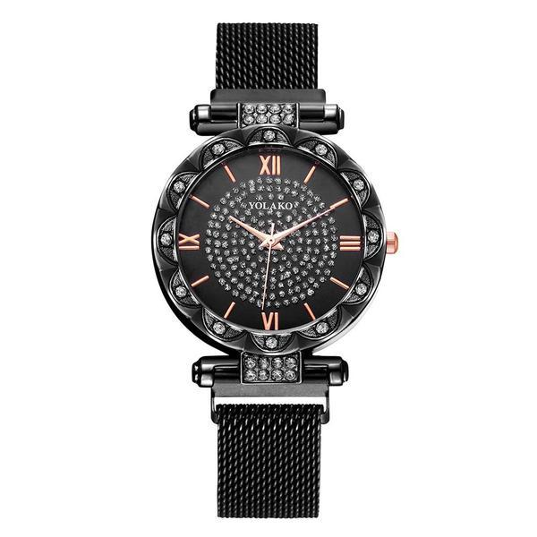 Ceas de dama elegant Yolako CS1050, model Starry Sky, bratara magnetica, negru