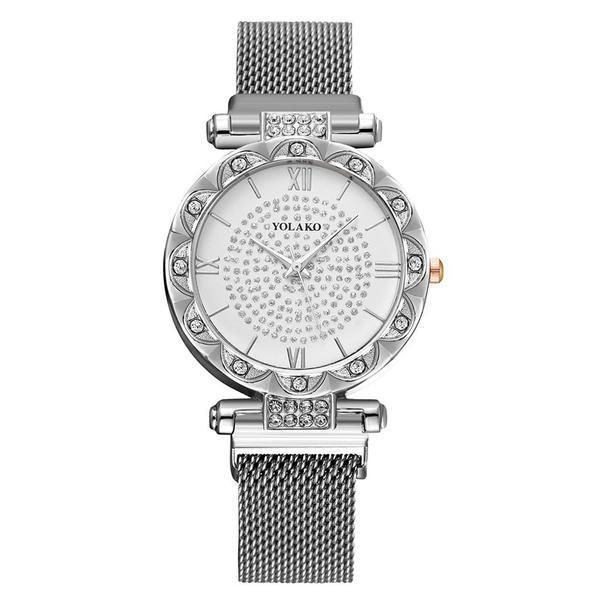 Ceas de dama elegant Yolako CS1064, model Starry Sky, bratara magnetica, argintiu
