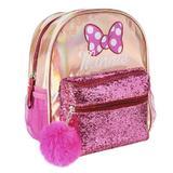 Ghiozdan pentru fetite Disney Minnie Mouse cu paiete roz 26 cm