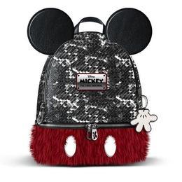 Ghiozdan pentru fetite Disney Mickey Mouse cu paiete reversibile,urechi si material plusat rosu 32 cm