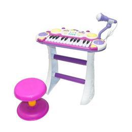 Orga muzicala pentru baieti, MalPlay, cu scaun si microfon, Roz, 45 cm inaltime