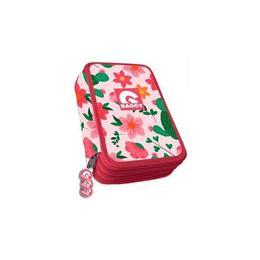 Penar Baggy fete rosu cu flori, 3 compartimente, echipat 44 piese