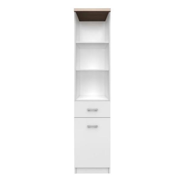 Etajera 1D1S cu sertar din PAL melaminat alb/stejar sonoma 183x40x33 cm GL TOPTY