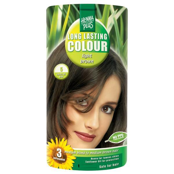 Vopsea par, Long Lasting Colour, 5 Light Brown, Hennaplus poza