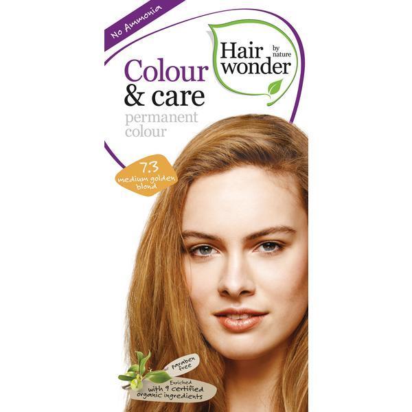 Vopsea par naturala, Colour & Care, 7.3 Medium Golden Blond, Hairwonder poza