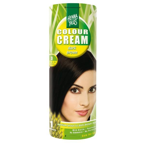 Crema nuantatoare, 3, Colour Cream Dark Brown, Hennaplus, 60 ml imagine produs