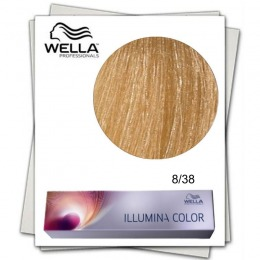 Vopsea Permanenta - Wella Professionals Illumina Color Nuanta 8/38 blond deschis auriu albastru