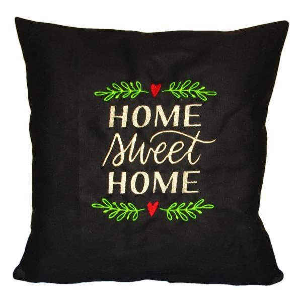 Perna decorativa Home Sweet Home, negru, model 2, 40 x 40 cm
