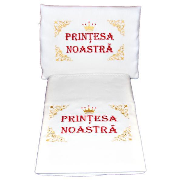 Set paturica+perna brodata Printesa noastra, model 2 – Happy Gifts