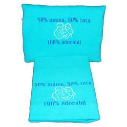 Set paturica+perna brodata 50% mama 50% tata 100 - Happy Gifts