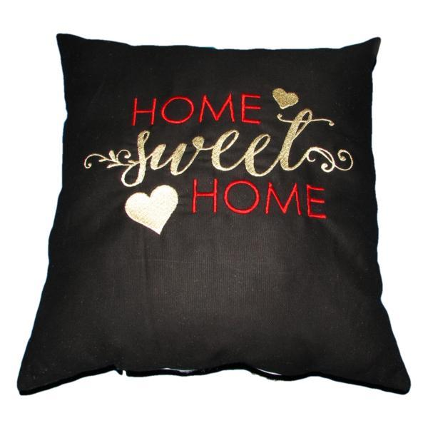 Perna decorativa Home Sweet Home, negru, Happy Gifts, 40 x 40 cm