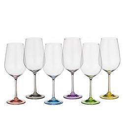Pahare Bohemia Cristal Rainbow Raki pentru vin rosu set 6 buc 550ml
