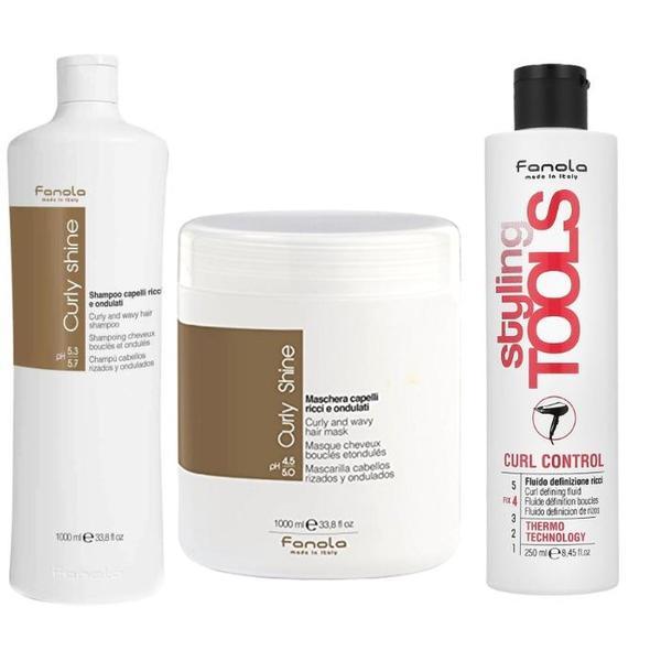Pachet pentru Par Cret si Ondulat Fanola Curly Shine - Sampon 1000ml, Masca 1000ml, Fluid Definire Bucle 250ml
