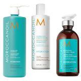 Pachet pentru Hidratare Moroccanoil - Sampon 1000ml, Balsam 250ml, Crema Styling 300ml