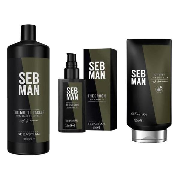 Pachet pentru Barbati Sebastian Professional SEB Man - Sampon 3in1 1000ml, Ulei 30ml, Balsam Aftershave 150ml imagine produs