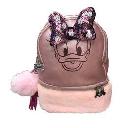 Ghiozdan fetite Disney Daisy cu fundita 3D si breloc roz pal, 32 cm