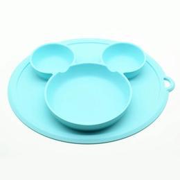 Farfurie silicon pentru bebelusi, Mickey, Albastra, Antiderapanta +6 luni