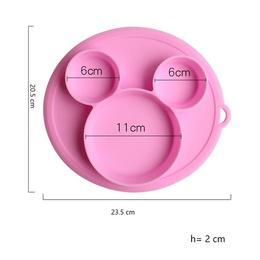 Farfurie silicon pentru bebelusi, Mickey, Roz, Antiderapanta +6 luni