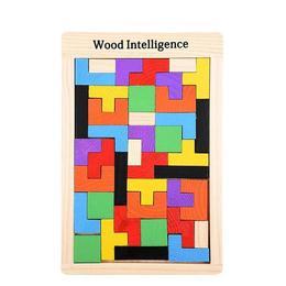 Joc Montessori Tetris din lemn , multicolor, puzzle cuburi de constructie