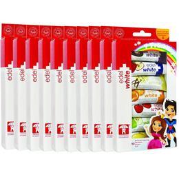 Pachet cabinet 10 produse pasta de dinti edel+white 7 Fruchtli Set 7x9.4ml pentru copii cu varsta de pana la 6 ani